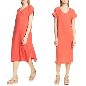 Eileen Fisher Organic Cotton Gauze Midi Dress XS